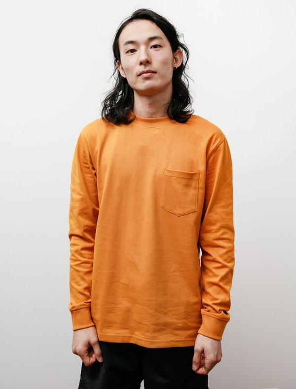 Norse Projects Johannes Pocket Long Sleeve T-Shirt - Cadmium Orange