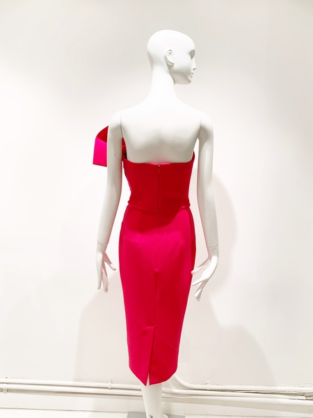 Safiyaa fan strapless cocktail dress- ruby red
