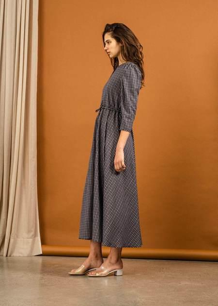 Penny Sage Fernweh Dress - Navy Check