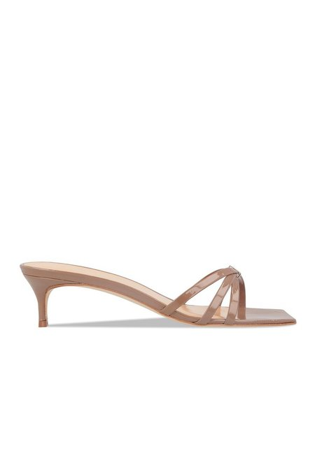 BY FAR Libra Patent Leather Sandals - Taupe