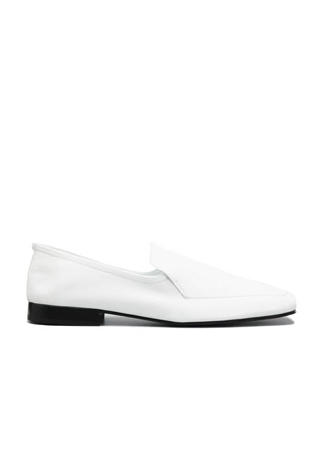 BY FAR Tom Leather Loafers - White