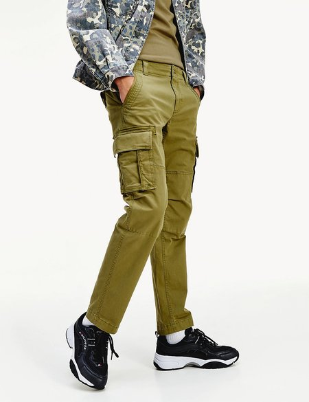Tommy Hilfiger Tommy Jeans Straight Fit Stretch Cotton Cargo Pant - Uniform Olive