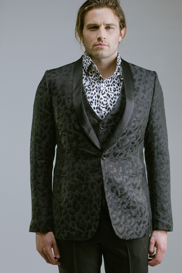 Any Old Iron Black Leopard Jacket and Waist Coat Suit | Garmentory