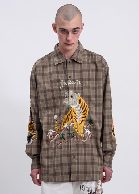 Doublet Bitting Embroidery Shirt - Beige