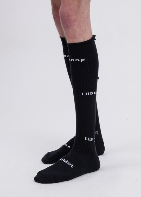 Doublet Left And Right High Socks - Black