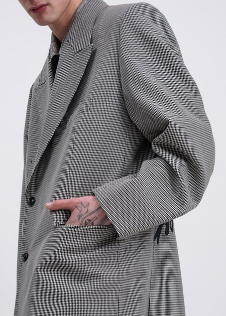 Doublet Pe/W Hand-Painted Long Tailored Jacket - Houndstooth