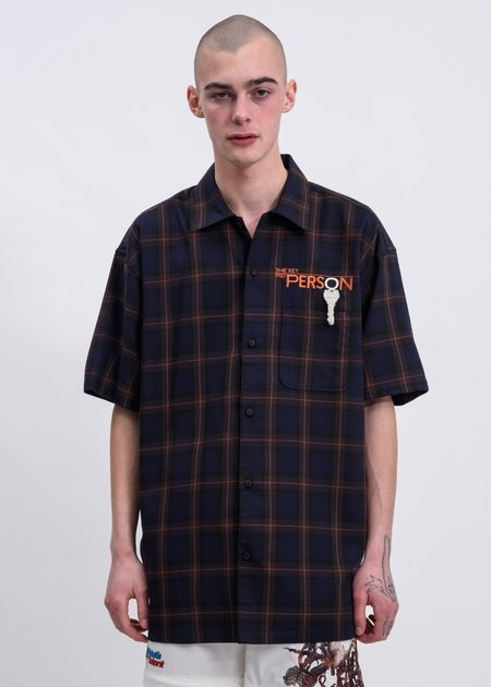 Doublet Key Person Embroidery Shirt - Navy