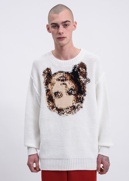 Doublet Acting Someone Pullover Sweater - White