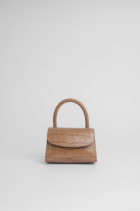 BY FAR Mini Croco Embossed Leather Bag - Taupe