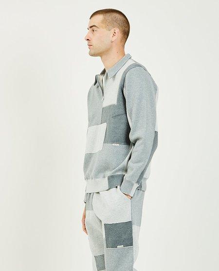 Ovadia & Sons Dune Half Zip Patchwork Sweatshirt - heather charcoal