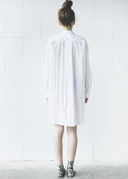 The Sleep Shirt Short Sleep Shirt in Black Pencil Stripe