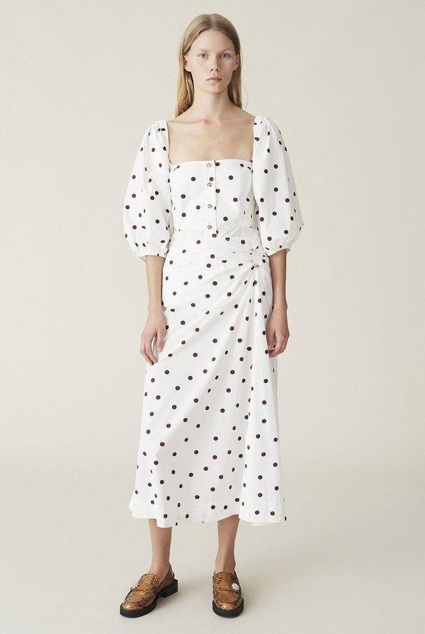 Ganni Printed Poplin Puff Sleeve Top - white