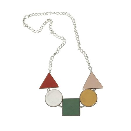 Julie Moon Multi Shape Multi Coloured Necklace - Silver
