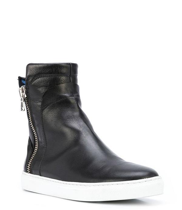 Madison Maison Leather Fur Hi Top Sneaker - Black/Blue