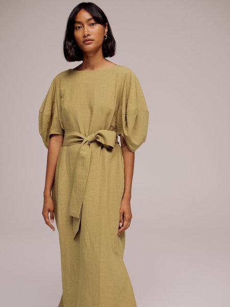 MIJEONG PARK BALLOON SLEEVE MAXI DRESS - OLIVE