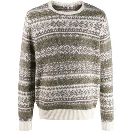 Alex Mill Fuzzy Pattern Sweater - Ivory/Grey