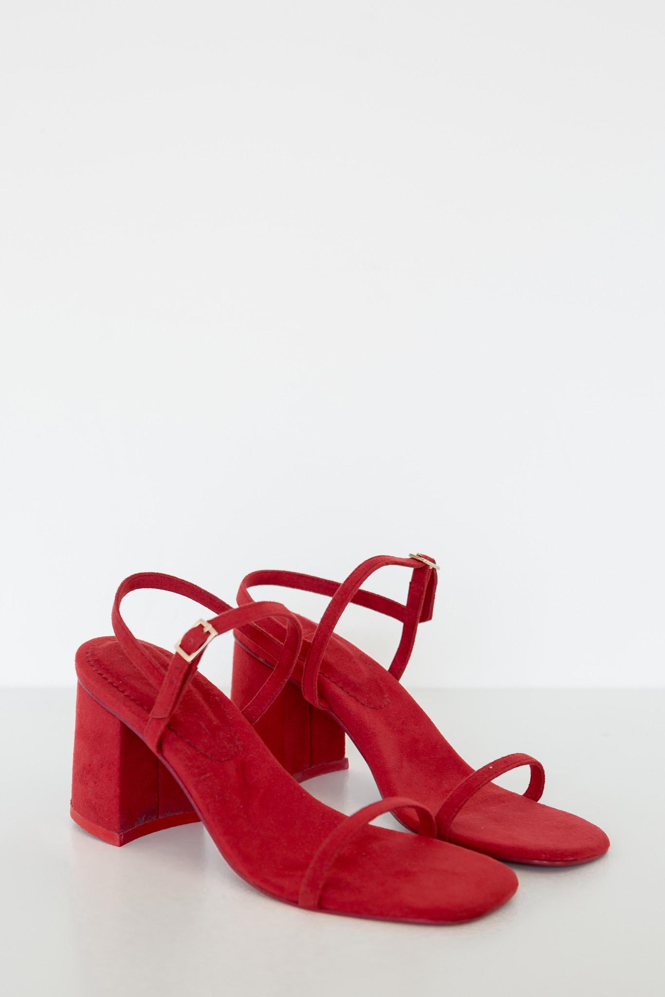 Rafa Vegan Suede Simple Sandal Red Garmentory