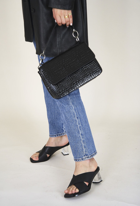 HVISK Dally Croco Handbag - Black