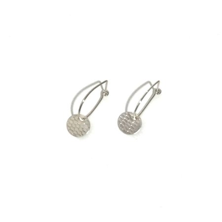 Kari Woo U Hoop with Textured Disc Earrings