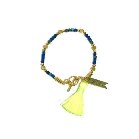 Marijke Bouchier Metallic with Neon Green Tassel Bracelet