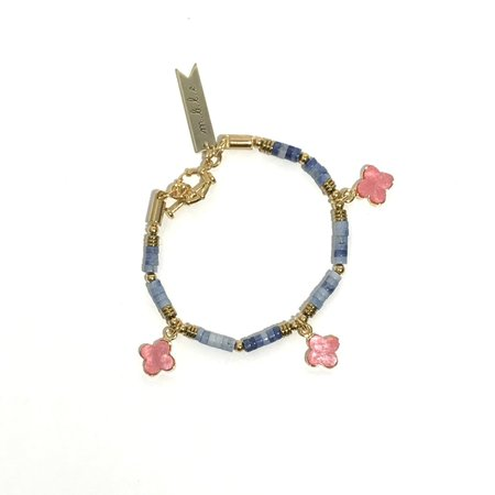 Marijke Bouchier Pink Clover and Blue Rondelle Bracelet