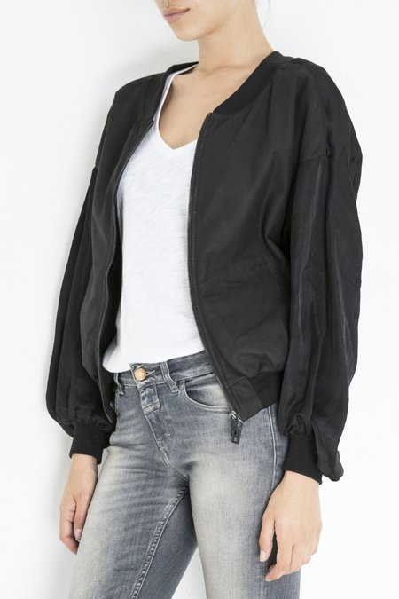 Giorgio Brato Leather Satin Bomber Jacket - Nero
