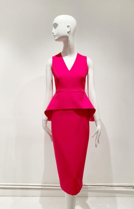 Safiyaa crepe two piece skirt and peplum top - ruby red