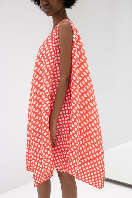 Pleats Please Issey Miyake Step One Shoulder Dress - Red/White