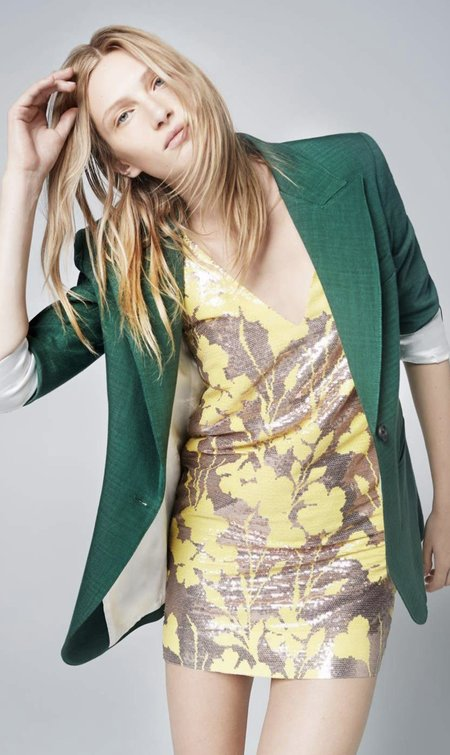 Smythe Deep V Mini Dress - Sequin Floral Rosegold/Yellow