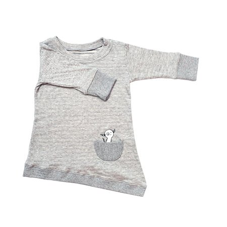 Kids Bash+Sass Asymmetric Dress - Grey Skinny Stripes