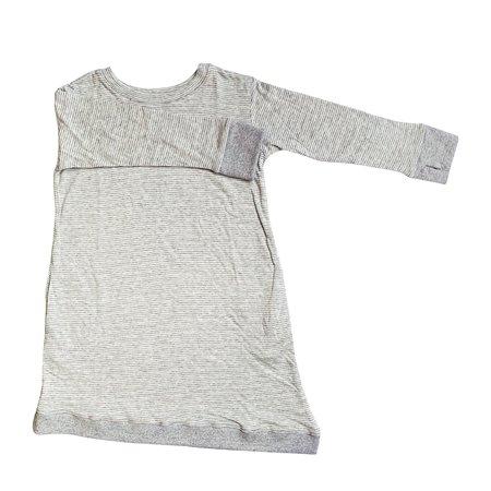 Kids Bash+Sass Asymmetric Dress - Grey Skinny Stripes