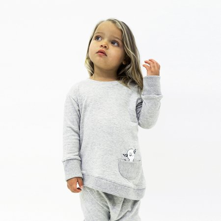 Kids Unisex Bash+Sass Asymmetric Pullover - Grey Skinny Stripes