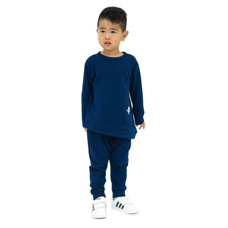 Kids Unisex Bash+Sass Asymmetric Quilted Pullover - Deep Blue