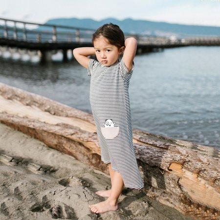 Kids Bash+Sass Asymmetric T-shirt Dress - Black/White Stripes
