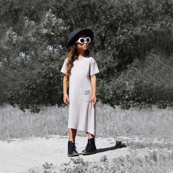 Kids Bash+Sass Asymmetric T-shirt Dress - Mocha