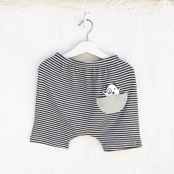 Kids Unisex Bash+Sass Hammer Shorties - Black/White Stripes