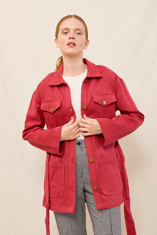 back beat rags Hemp Safari Jacket - Berry