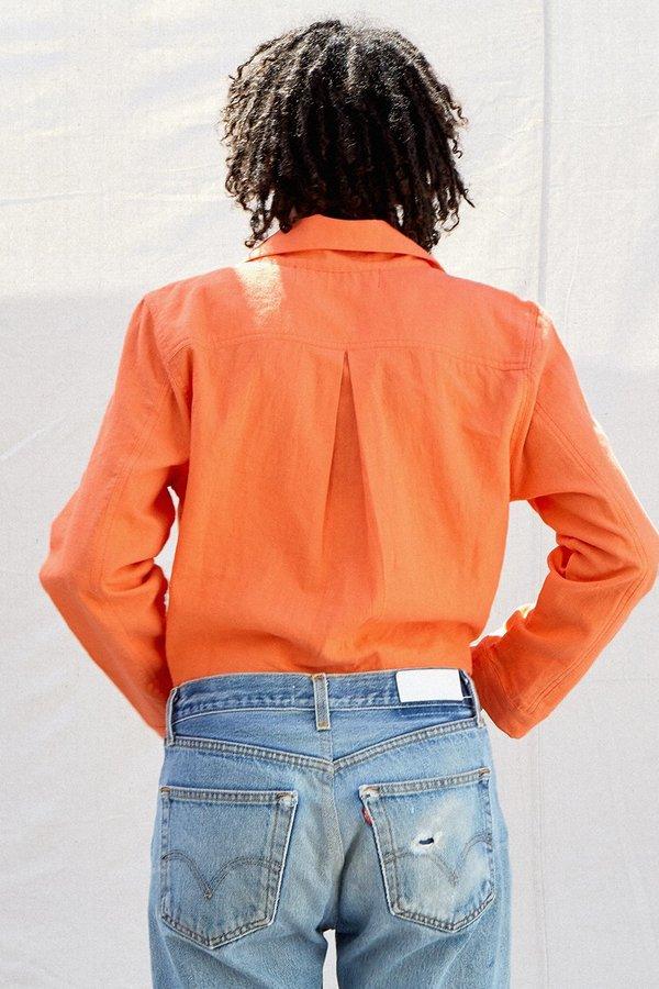 Back Beat Rags Hemp Tie Front Button Down Shirt - Sherbert