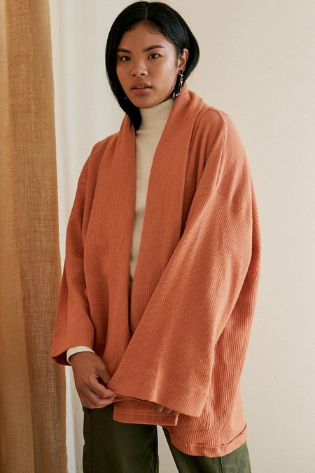 Back Beat Rags Organic Cotton Abbot Corduroy Knit Robe - Raw Sienna