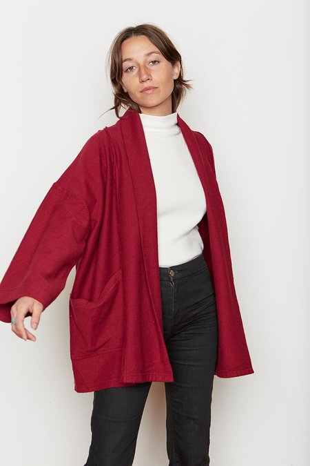 Back Beat Rags Organic Cotton Abbot Corduroy Knit Robe - Berry
