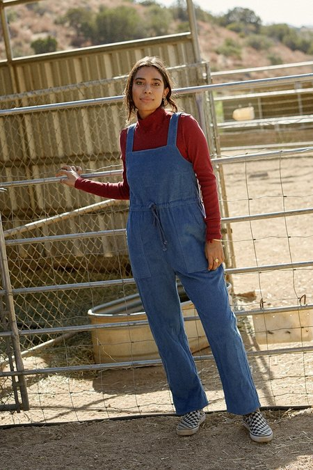 Back Beat Rags Plant Dyed Corduroy Overalls - Plant Blue