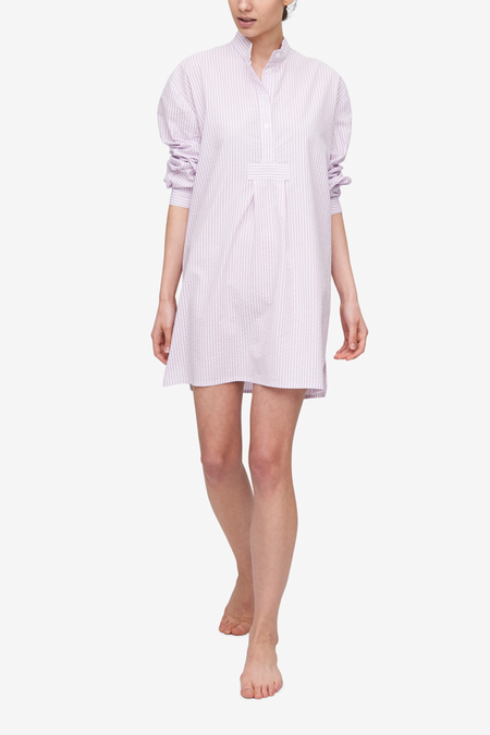 The Sleep Shirt Short Sleep Shirt - Lilac Seersucker Stripe