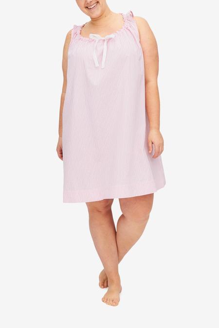The Sleep Shirt Plus Size Sleeveless Nightie - Pink Seersucker Stripe