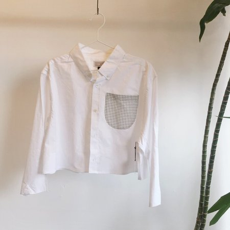 Unisex Laurs Kemp Reworked Grid Pocket Button Up - White