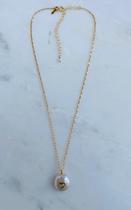 Natalie B Pearl of Love Necklace - 14K Gold Fill