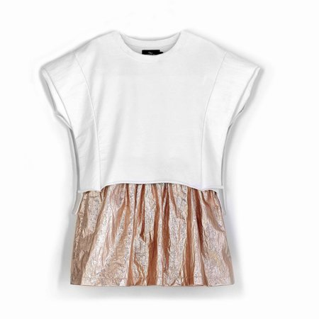 kids andorine two tone dress - white/gold