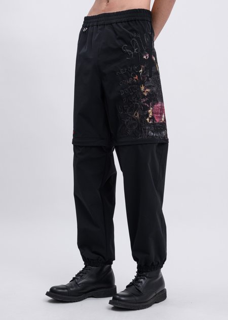 Doublet Printed Chaos Embroidery Two Way Pants - Black
