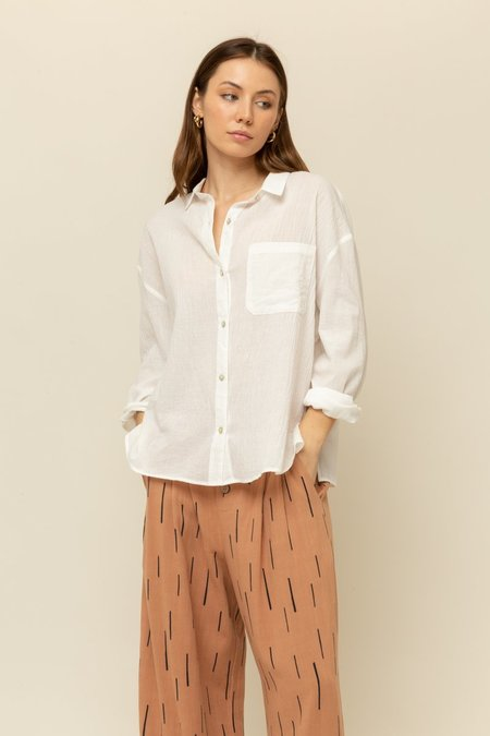 Grade & Gather Cotton Gauze Button Front Shirt - White
