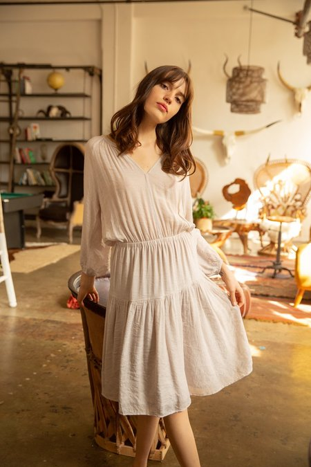 Grade & Gather Tiered Prairie Midi Dress - Cream