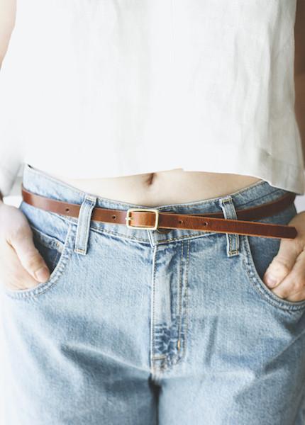 The Stowe - Skinny Belt in Whiskey